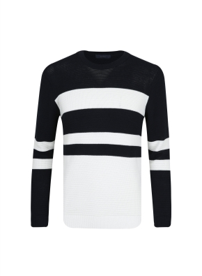 면혼방 배색 스웨터