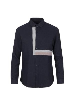 코튼 솔리드 올오버 패턴 배색 셔츠