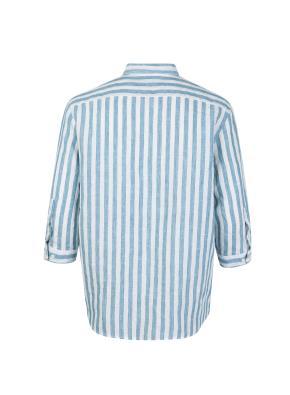 린넨 스트라이프 7부 캐쥬얼 셔츠 (BL)