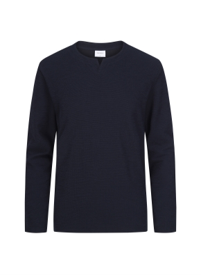 슬릿 넥 멜란지 티셔츠 (DNV)