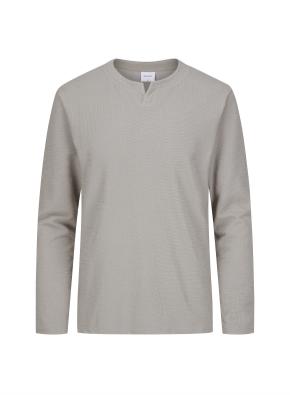 슬릿 넥 멜란지 티셔츠 (KH)