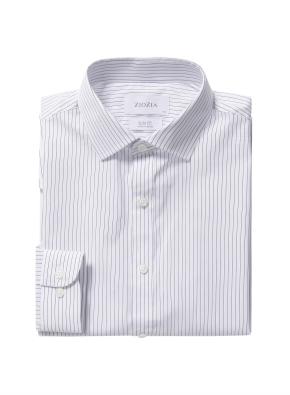 스트라이프 세미와이드카라 드레스셔츠 (BL)