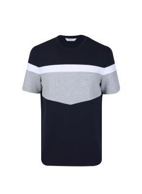 레이온혼방 절개 블러킹 티셔츠 (NV)