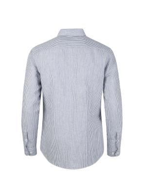 린넨 코튼 스트라이프 프린팅 포인트 캐쥬얼 셔츠
