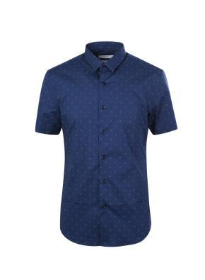 코튼 스판 도트 프린트 반소매 캐쥬얼 셔츠 (NV)