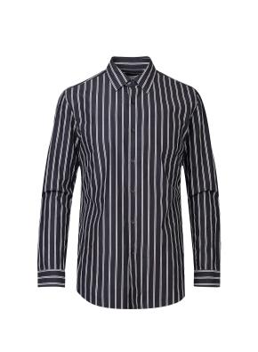 피치가공 스트라이프 캐쥬얼 셔츠 (NV)