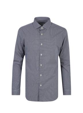 코튼 마이크로 체크 드레스 셔츠