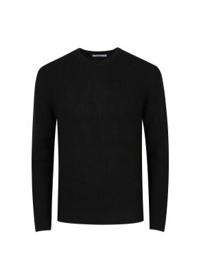 울혼방 와플조직 스웨터 (BK)