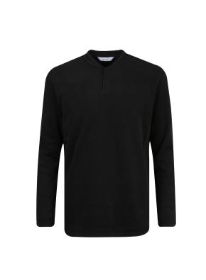 면폴리 플랫백 립조직 헨리넥 티셔츠 (BK)