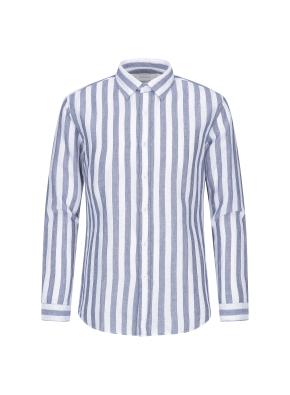 린넨코튼 볼드 스트라이프 셔츠 (BL)