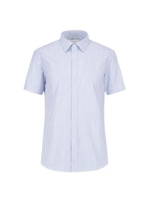 면혼방 스판 슬럽 스트라이프 드레스 반팔 셔츠