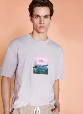 bowling 백프린트 오버핏 그래픽 티셔츠 (BE)