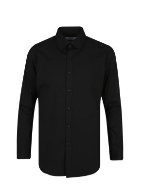 스판 코튼 혼방 솔리드 드레스 셔츠 (BK)