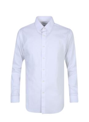 스판 코튼 혼방 솔리드 드레스 셔츠 (WT)