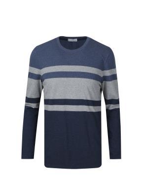 컬러블록 라운드 티셔츠 (NV)