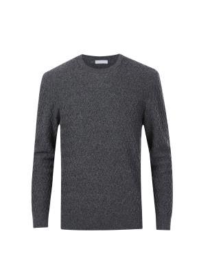 울캐시 패턴조직 모노톤 스웨터 (CGR)