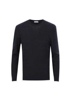 울캐시 패턴조직 모노톤 스웨터 (NV)