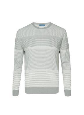 멀티 스트라이프 컬러블럭 스웨터 (LGR)