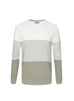 빨래판조직 3단 컬러블럭 스웨터