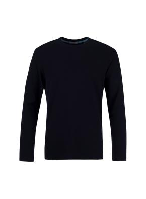 면혼방 조직변형 라운드 티셔츠 (NV)