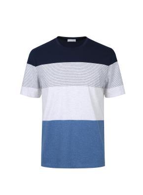 컬러 블록킹 스트라이프 티셔츠 (NV)