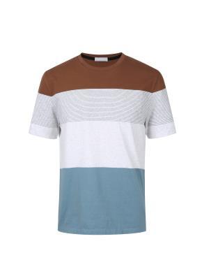 컬러 블록킹 스트라이프 티셔츠 (RD)