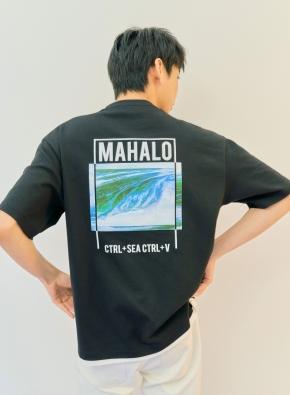 서핑 MAHALO 그래픽 오버핏 반팔티 (BK)