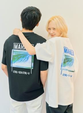 서핑 MAHALO 그래픽 오버핏 반팔티 (WT)