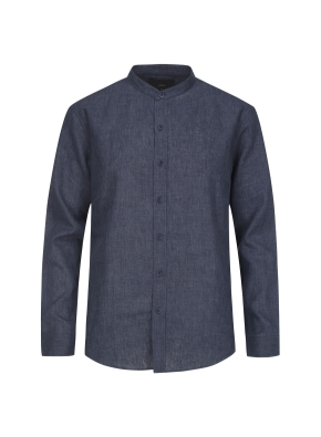 하이브리드 린넨 밴드카라 셔츠 (NV)