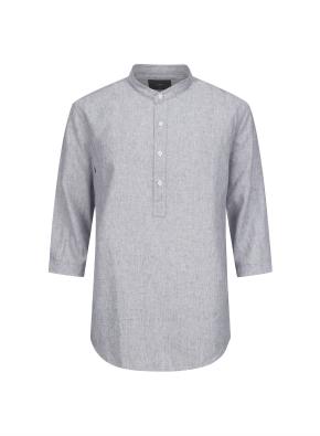 하이브리드 린넨 밴드카라 풀오버 7부 셔츠 (NV)