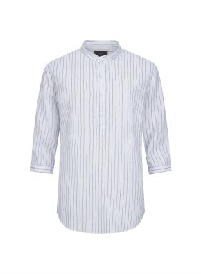 하이브리드 린넨 밴드카라 풀오버 7부 셔츠 (SBL)