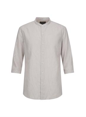 하이브리드 린넨 밴드카라 스트라이프 7부 셔츠 (BE)