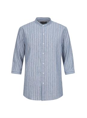 하이브리드 린넨 밴드카라 스트라이프 7부 셔츠 (BL)