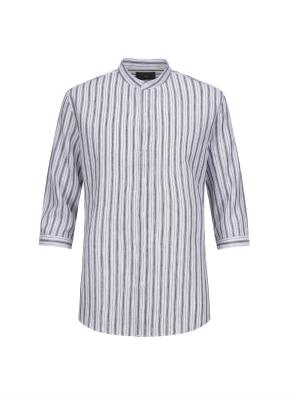 하이브리드 린넨 밴드카라 스트라이프 7부 셔츠 (NV)