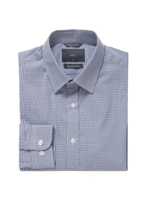 미니 체크 레귤러카라 드레스셔츠 (NV)