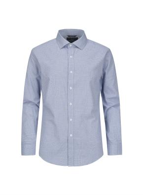 미니 하운드투스 체크 세미와이드카라 셔츠 (BL)