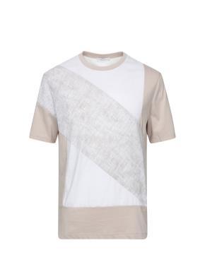 사선 프린트 반팔 티셔츠 (BE)