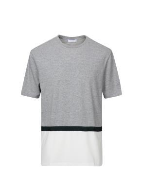 세미오버핏 밑단배색 티셔츠 (GR)