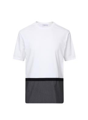 세미오버핏 밑단배색 티셔츠 (WT)