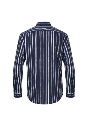 붓터치 프린트 네이비 캐쥬얼셔츠