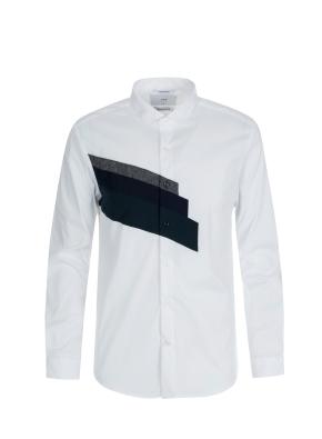 면혼방 미니와이드카라 블러킹포인트 셔츠 (WT)