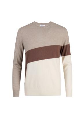 울 비대칭 컬러블럭 스웨터 (BE)
