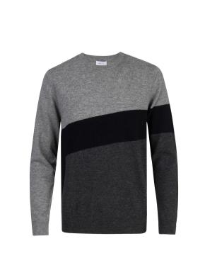 울 비대칭 컬러블럭 스웨터 (GR)