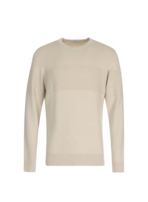 가슴조직변형 솔리드 라운드넥 풀오버 스웨터 (IV)