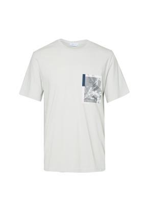 면 포켓라이크 아트웍 반팔 그레이 티셔츠