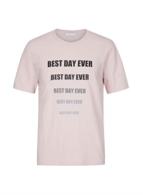 면 그래픽 반팔 핑크 티셔츠 (레터링)
