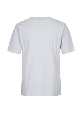 면 그래픽 반팔 블루 티셔츠 (레터링)