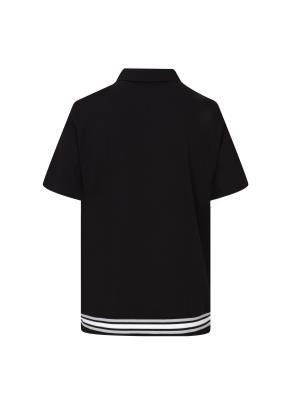 립배색 반팔 카라 티셔츠 (BK)
