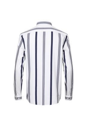 멀티스트라이프 레귤러카라 포플린 화이트 셔츠