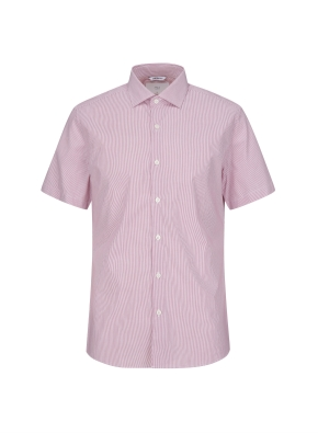 스트라이프 세미와이드카라 반소매 셔츠 (PK)